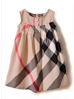 2-6yrs childrens dress 100cotton girls big plaid dress 2014 new summer clothing for fashion kids sleeveless design 870