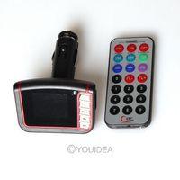 "1.7"" LCD Wireless Car MP3 Player FM Transmitter SD MMC USB Black free shipping 81712"