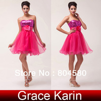 Free Shipping Stock Strapless Sequins Organza Short Cocktail Party Gown Homecoming Prom Ball Dresses Mini Dress 2014 CL6047