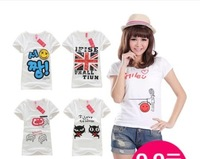 Hot sale!!! Free shipping 2014 Fashion Good Quality Cotton T Shirt Women Cartoon Tops Round T-shirts for women