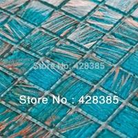 sky blue golden lines  Glass  Mosaic Tiles, kitchen backsplash, bathroom, living room wall tiles