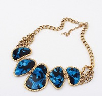 Free Shipping 2014 New Fashion Vintage Stone Necklace Chokers Pendant Necklaces