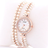 DW237 Luxury Brand GEDI Pearl Chain Women Bracelet Watch Rhinestone Ladies Dress Watches Valentines Day Gifts Free Shipping