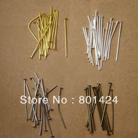 free shipping 800pcs 87-12  28mm silver/gold/rhodium  plated head pins jewelry finding(28*0.7mm)