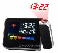 1pcs Digital LCD Screen LED Projector Alarm Clock Weather Station Forecast Calendar clock Free Shipping 80320