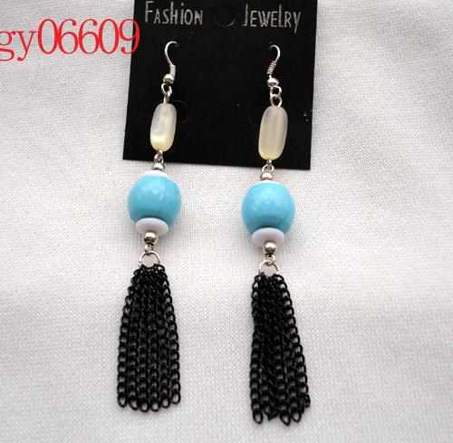 Beige - eye tube light blue acrylic beads tassel brief fashion drop earring(China (Mainland))