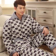 Men's winter thick coral velvet quilted pajamas warm pajamas suits Pyjamas(China (Mainland))