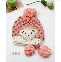 New winter cute little girl lace knitting wool children Cubs Sphere double hat