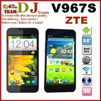 Original ZTE V967S 5 Inch IPS 960x540 Cheap Mtk6589 Quad Core android Phone 1GB RAM 4GB ROM 5mp GPS 3G Russian Multi Language