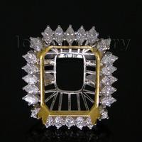 Vintage Emerald Cut 14x18mm Platinum PT900 Natural Diamond Semi mount Ring WU081