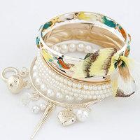Fashion elegant pearl bow multi-layer bracelet
