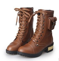 2014 NEW PAIR  Leather motorcycle boots  Martin boots flat women Belted Lace high boots