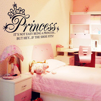 1 set 25*50 inch Removable PVC Wallpaper Princess Art Quote Wall Decals Girls Bedroom Decoration Wall Sticker