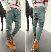 Fashion Casual Men's Clothing men Denim harem pants drop crotch pants MEN hip hop pants jeans men skinny trousers New 2014