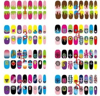 Free Shipping 2014 News Hot Sells 16 Pcs Beauty sticker Harajuku style DIY Nail Sticker Nail Art Foil Nail Art Decoration
