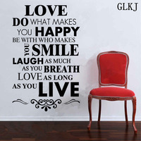 DIY Happy Live Laugh Love Smile Inspirational Quote Wall Art Vinyl Decal Sticker