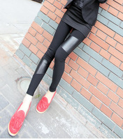 8034 fashion explosion models fight asymmetric stretch stitching leather personality leggings