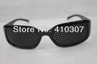 Pin hole Eyeglasses Pinhole Glasses Eye Exercise Eyesight Improve Black Unisex Vision Care New Arrival Free Shipping 30 pcs