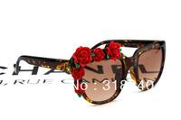 2014 new retro sunglasses square exaggerated three-dimensional flowers mirror sunglasses tide rose sunglass