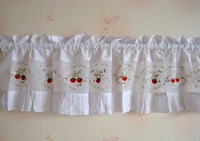 New style Sweet strawberry embroidered ruffle small curtain head curtain short curtain kitchen curtain coffee curtain