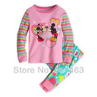 2014 sprint  children girls long sleeve  cartoon mickey kiss minnie mouse  pajamas set # XC-356,  6 sets/lot, 2-7 years