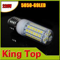 Ultra Bright E27 5050smd LED lamp 220V 230V Cree 69 led 5050 SMD LED Corn Bulb Light Warm white white 1pcs/lot