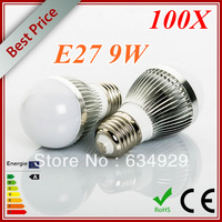 Wholesale-100X High brightness LED bulb light E27 lamp 9W 3x3W LED Globe Bulb Cold white/warm white AC85V-265V Energy Saving.