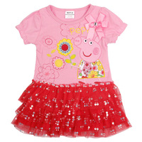Free Shipping Wholesale 5pcs New 2014 Cotton Peppa Pig girl dress
