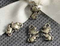 Fashion Jewelry Findings Accessories charm pendant alloy bead Antique Bronze 12*7*3MM mouse shape 200PCS JJA1415