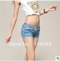 Hot Sale !! 2014 women's fashion summer denim short shorts cotton slim shorts lace blue shorts jeans free shipping