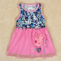 nove kids wear baby girls brand dress lovely peppa pig embroidery hot sale spring sumer cotton party dress for baby girls H4680#