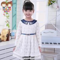 Children's clothing  long-sleeve dress  spring  dress child lace one-piece dress girl dress