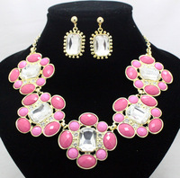Gold plated Pink cute fancy flower party bridal pink jewelry sets fashion necklace and earrings sets for women free shipping