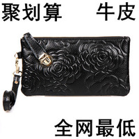 Women's clutch bag genuine leather handbag fashion women's clutch coin purse mobile phone bag soft leather small bags cosmetic