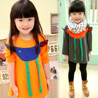 New2014 spring children's clothing fabric girls clothing t-shirt dress basic shirt 4296