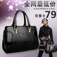 2014 women's handbag female japanned leather crocodile pattern women's bags smiley cross-body bag