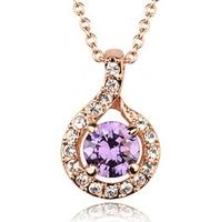 Simple design women jewelry purple zircon/rhinestone 18k gold plated pendant/choker necklace WL0616