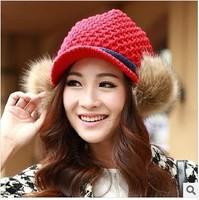 Female winter new plush balls plus velvet ear short eaves Benn warm knitted wool hat