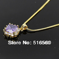 FREE SHIPPING 2014 new 18k gold plated women amethyst wedding necklace & pendant a322g1