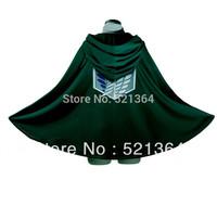 Free shipping 2014 Hot sale! Japanese anime Shingeki no Kyojin  Attack On Titan  2 style Nylon Cloak Cape Cosplay Costume