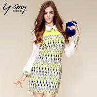 2014 new fashion color block geometry patchwork turn-down collar princess long-sleeve slim one-piece dress