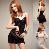 New Sexy 2014 Paillette Slim Hip Dress Mini clubwear & Nightclub Dresses Tight Package Hip Sexy Low-Cut Sequined Thin Dress