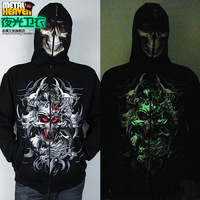 Luminous Sweatshirt Neon Outerwear Male Top Mask The Counterterrorism Zipper Luminous Hooded Clothing For 2014 Spring And Fall