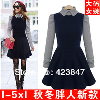 spring 2014 couture dress in Europe and the United States women's dress code splicing hit color doll turtleneck dress 5XL