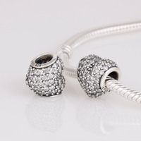 Stamped S925 ALE European Silver and Clear Pave Heart Charm compatible with Pandora Style Bracelet, 925 Sterling Silver LW251A