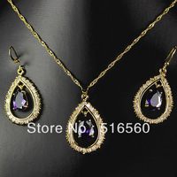 FREE SHIPPING 2014 new 18k gold plated fashion jewelry set women wedding necklace pendant earrings 21426
