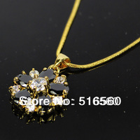 FREE SHIPPING 2014 new 18k gold plated women gemstone wedding necklace pendant 214n6