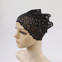 Muslim woman headcloth lace elastic cap convenient long hui products towel fabric base cap multicolor