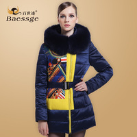 Fashion luxury baessge2013 thickening slim medium-long patchwork asymmetrical down coat female