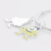 New Green Yellow Cartoon Big Eye 925 Sterling Silver Slider Charm Beads, Suitable for Pandora Bracelet DIY Making GW003